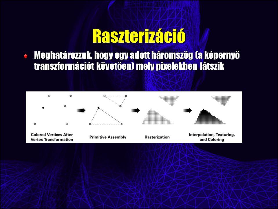 Raszterizáció Meghatározzuk, hogy egy adott háromszög (a képernyő transzformációt követően) mely pixelekben látszik