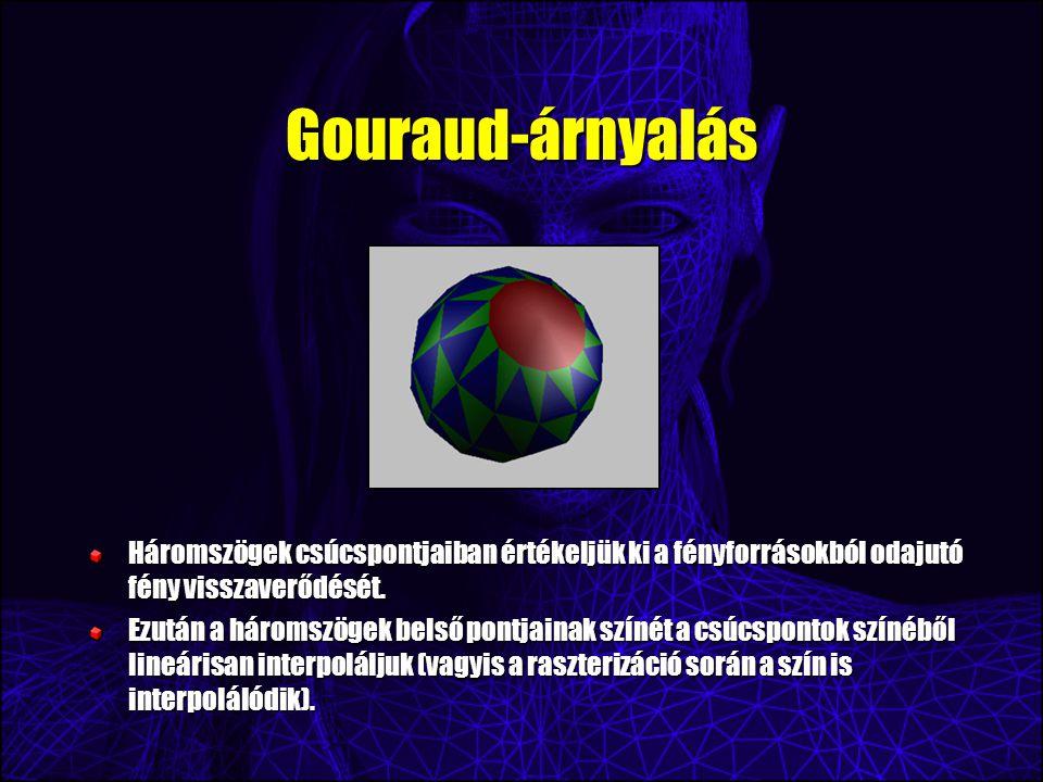 Gouraud-árnyalás Háromszögek csúcspontjaiban értékeljük ki a fényforrásokból odajutó fény visszaverődését.
