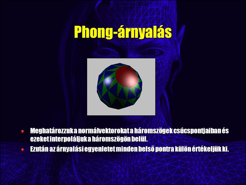 Phong-árnyalás Meghatározzuk a normálvektorokat a háromszögek csúcspontjaiban és ezeket interpoláljuk a háromszögön belül.
