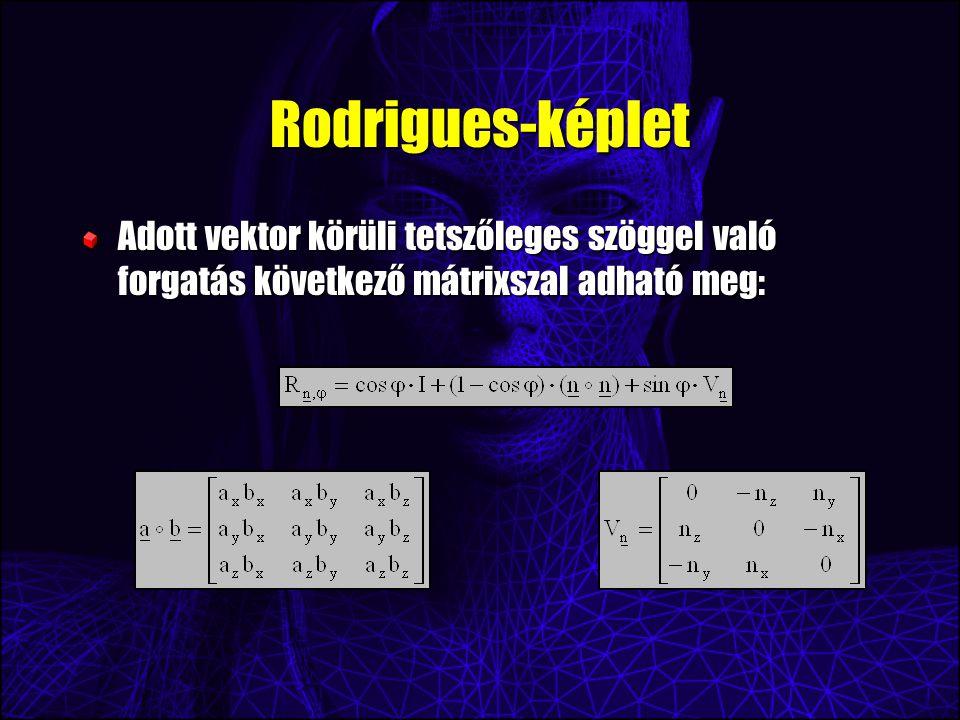Rodrigues-képlet Adott vektor körüli tetszőleges szöggel való forgatás következő mátrixszal adható meg: