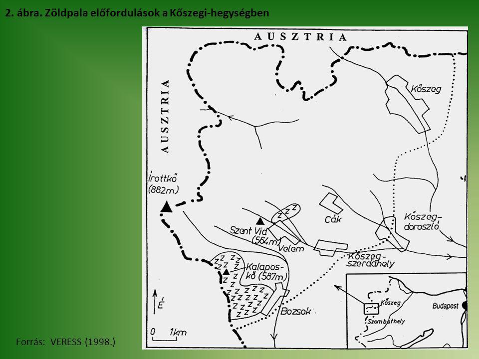 2. ábra. Zöldpala előfordulások a Kőszegi-hegységben Forrás: VERESS (1998.)