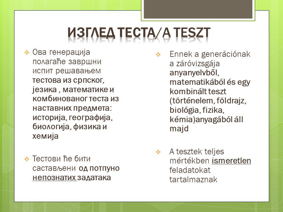  Ова генерација полагаће завршни испит решавањем тестова из српског, језика, математике и комбинованог теста из наставних предмета: историја, географ