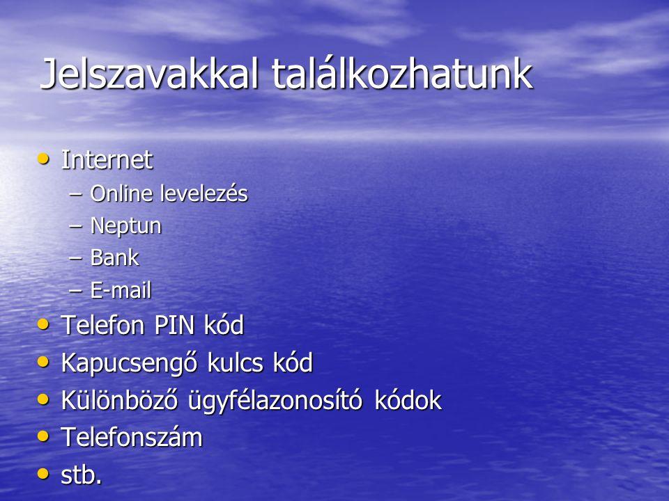 Jelszavakkal találkozhatunk Internet Internet –Online levelezés –Neptun –Bank –E-mail Telefon PIN kód Telefon PIN kód Kapucsengő kulcs kód Kapucsengő kulcs kód Különböző ügyfélazonosító kódok Különböző ügyfélazonosító kódok Telefonszám Telefonszám stb.
