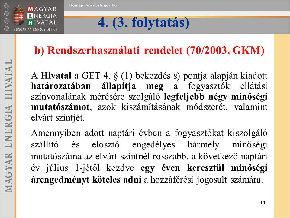 11 4. (3. folytatás) b) Rendszerhasználati rendelet (70/2003. GKM) A Hivatal a GET 4. § (1) bekezdés s) pontja alapján kiadott határozatában állapítja