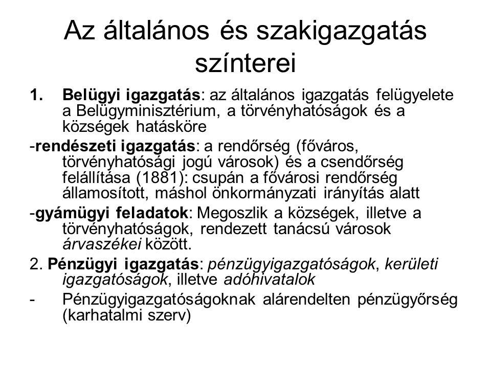 Az általános és szakigazgatás színterei (folyt.) 3.