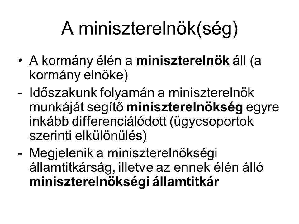 A minisztertanács és a kormányzati tevékenység Egyeztet a szakminisztériumok között Dönt a szakminiszterek által előterjesztett bizonyos egyedi ügyekben Országgyűlés elé kerülő előterjesztések, törvényjavaslatok is ide kerülnek Az egyes szakminisztereket a miniszterelnök előterjesztésére az uralkodó nevezi ki