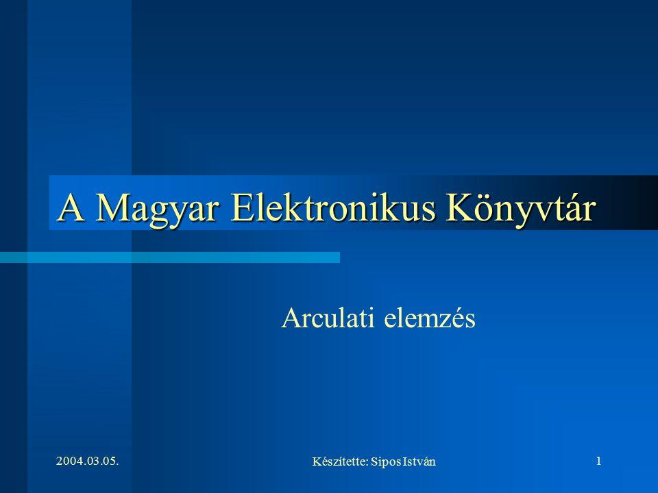 2004.03.05.1 A Magyar Elektronikus Könyvtár Arculati elemzés Készítette: Sipos István