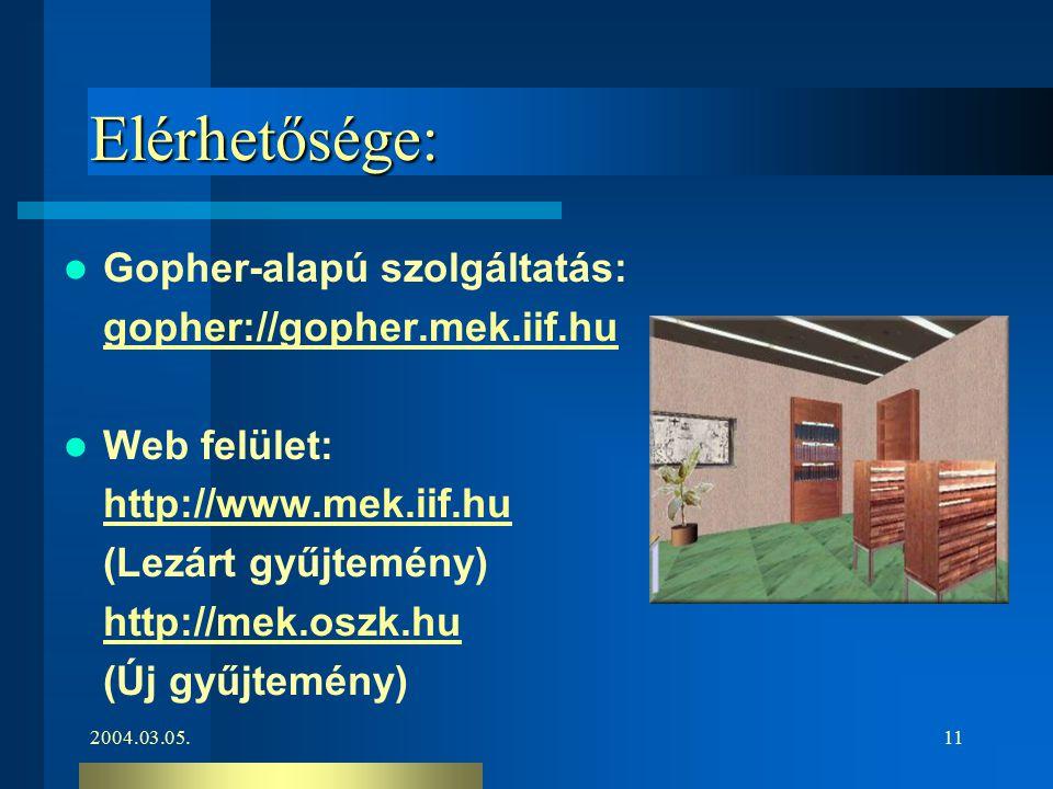 2004.03.05.11 Elérhetősége: Gopher-alapú szolgáltatás: gopher://gopher.mek.iif.hu Web felület: http://www.mek.iif.hu (Lezárt gyűjtemény) http://mek.os