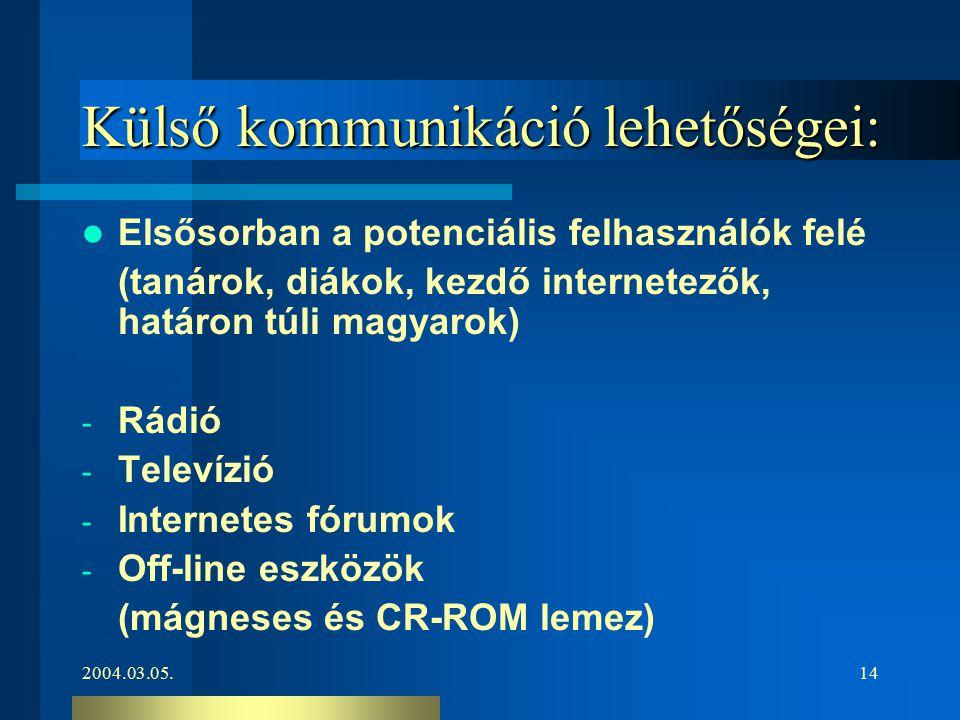 2004.03.05.14 Külső kommunikáció lehetőségei: Elsősorban a potenciális felhasználók felé (tanárok, diákok, kezdő internetezők, határon túli magyarok)