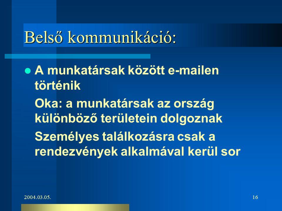 2004.03.05.16 Belső kommunikáció: A munkatársak között e-mailen történik Oka: a munkatársak az ország különböző területein dolgoznak Személyes találko