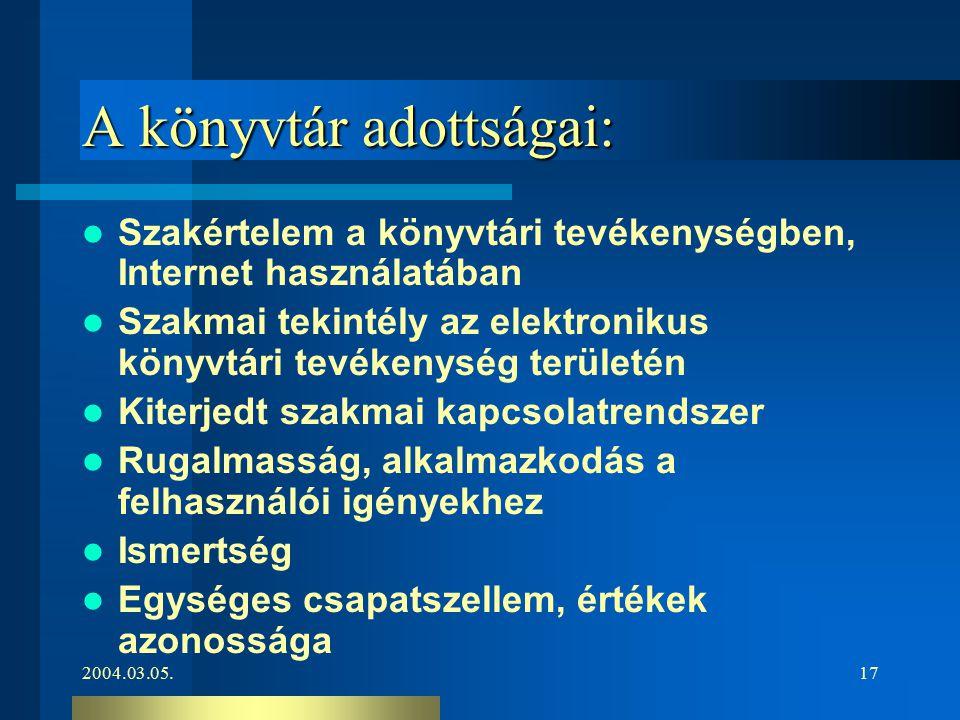 2004.03.05.17 A könyvtár adottságai: Szakértelem a könyvtári tevékenységben, Internet használatában Szakmai tekintély az elektronikus könyvtári tevéke