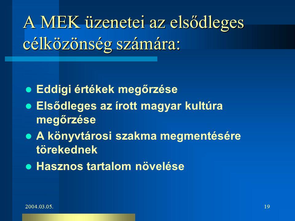 2004.03.05.19 A MEK üzenetei az elsődleges célközönség számára: Eddigi értékek megőrzése Elsődleges az írott magyar kultúra megőrzése A könyvtárosi sz