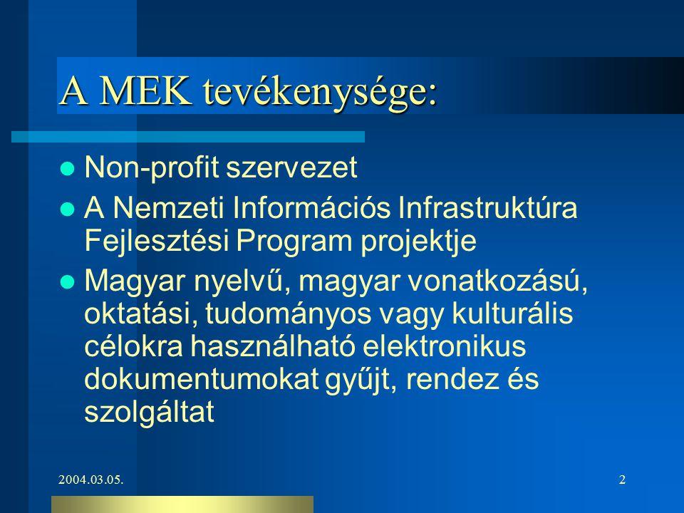 2004.03.05.2 A MEK tevékenysége: Non-profit szervezet A Nemzeti Információs Infrastruktúra Fejlesztési Program projektje Magyar nyelvű, magyar vonatko