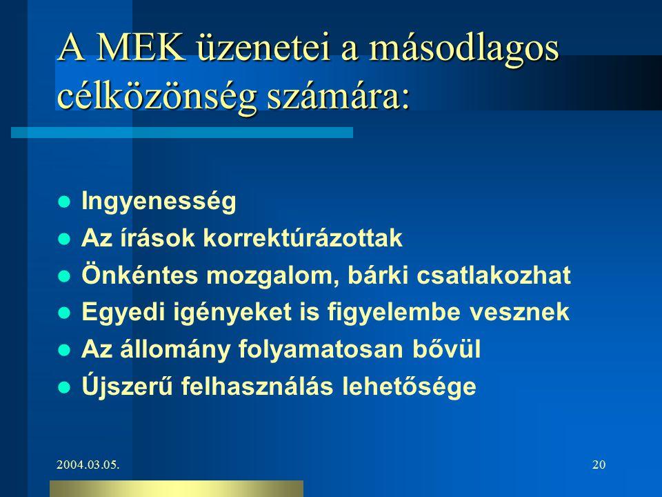 2004.03.05.20 A MEK üzenetei a másodlagos célközönség számára: Ingyenesség Az írások korrektúrázottak Önkéntes mozgalom, bárki csatlakozhat Egyedi igé