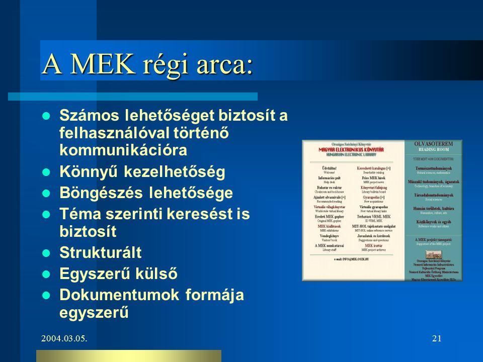 2004.03.05.21 A MEK régi arca: Számos lehetőséget biztosít a felhasználóval történő kommunikációra Könnyű kezelhetőség Böngészés lehetősége Téma szeri