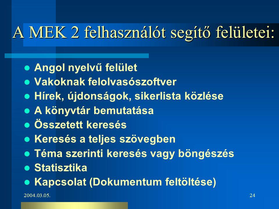 2004.03.05.24 A MEK 2 felhasználót segítő felületei: Angol nyelvű felület Vakoknak felolvasószoftver Hírek, újdonságok, sikerlista közlése A könyvtár