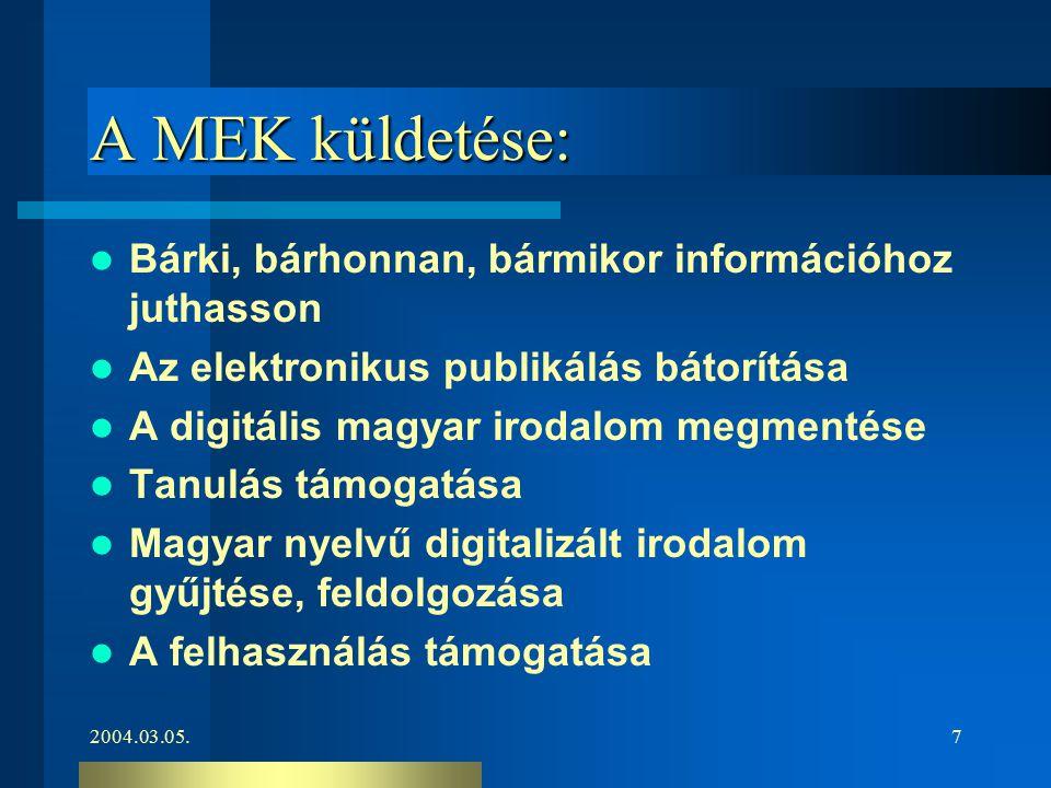 2004.03.05.7 A MEK küldetése: Bárki, bárhonnan, bármikor információhoz juthasson Az elektronikus publikálás bátorítása A digitális magyar irodalom meg