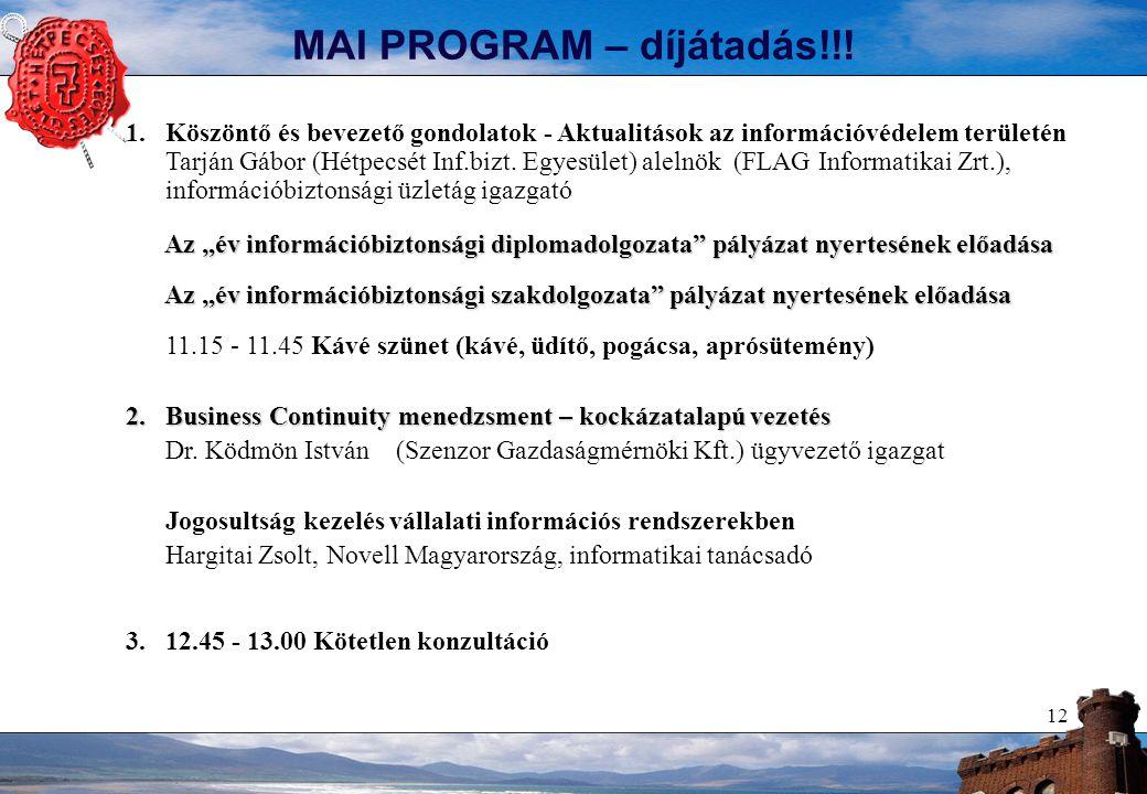 12 MAI PROGRAM – díjátadás!!.