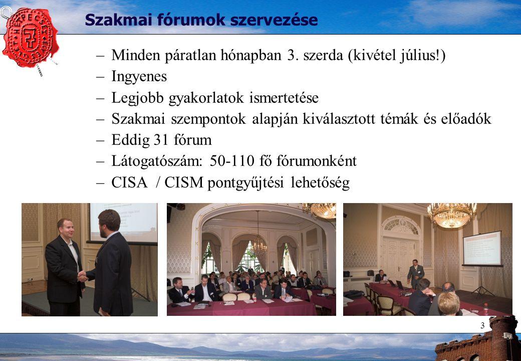 3 Szakmai fórumok szervezése –Minden páratlan hónapban 3.