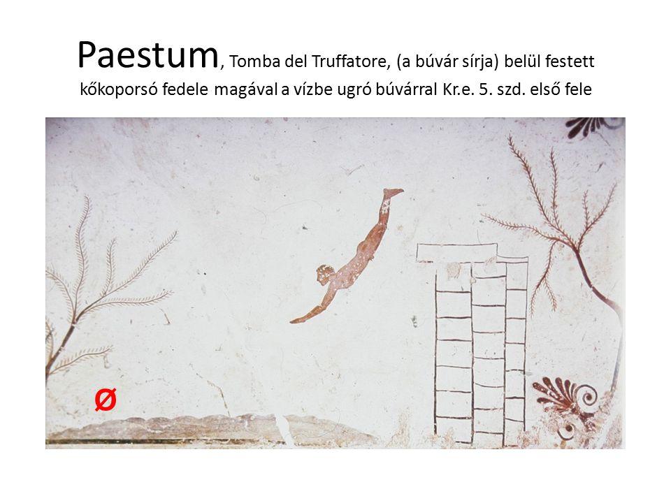 Paestum, Tomba del Truffatore, (a búvár sírja) belül festett kőkoporsó fedele magával a vízbe ugró búvárral Kr.e. 5. szd. első fele Ø