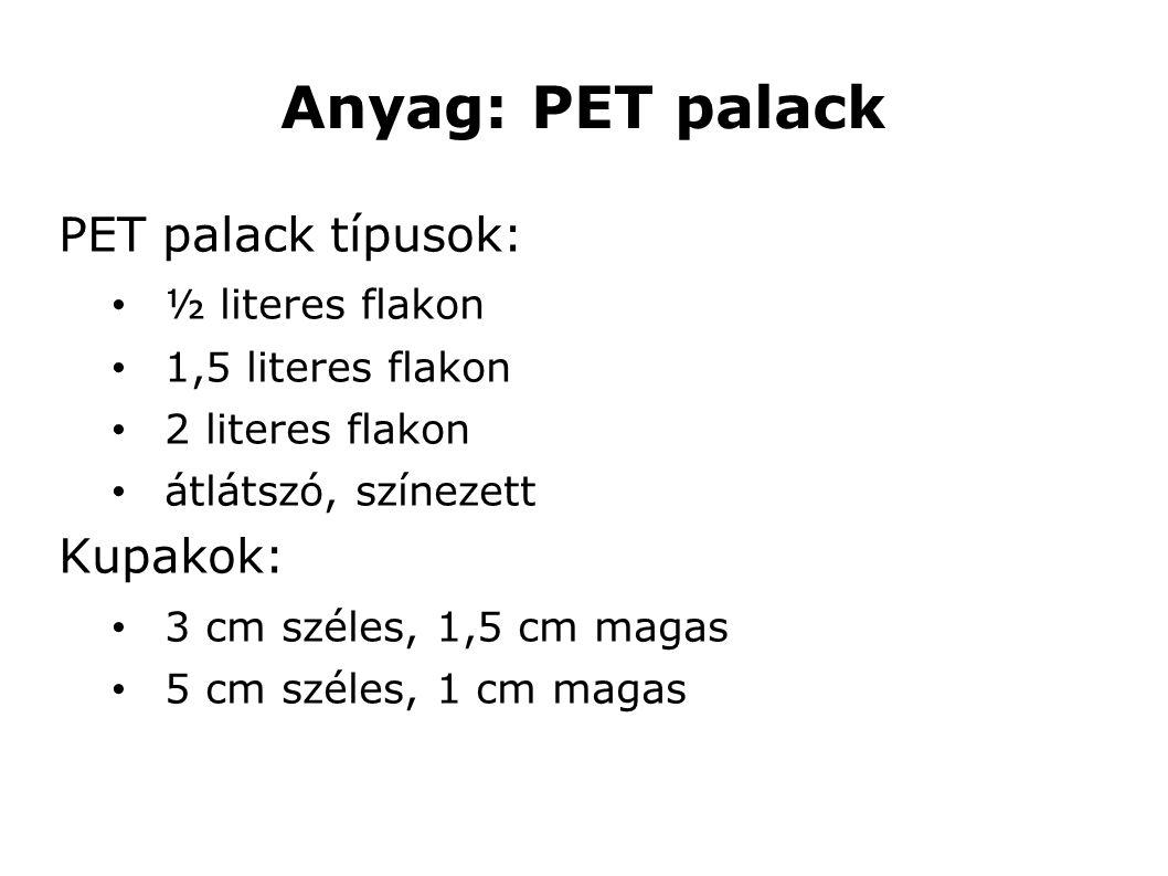Anyag: PET palack PET palack típusok: ½ literes flakon 1,5 literes flakon 2 literes flakon átlátszó, színezett Kupakok: 3 cm széles, 1,5 cm magas 5 cm