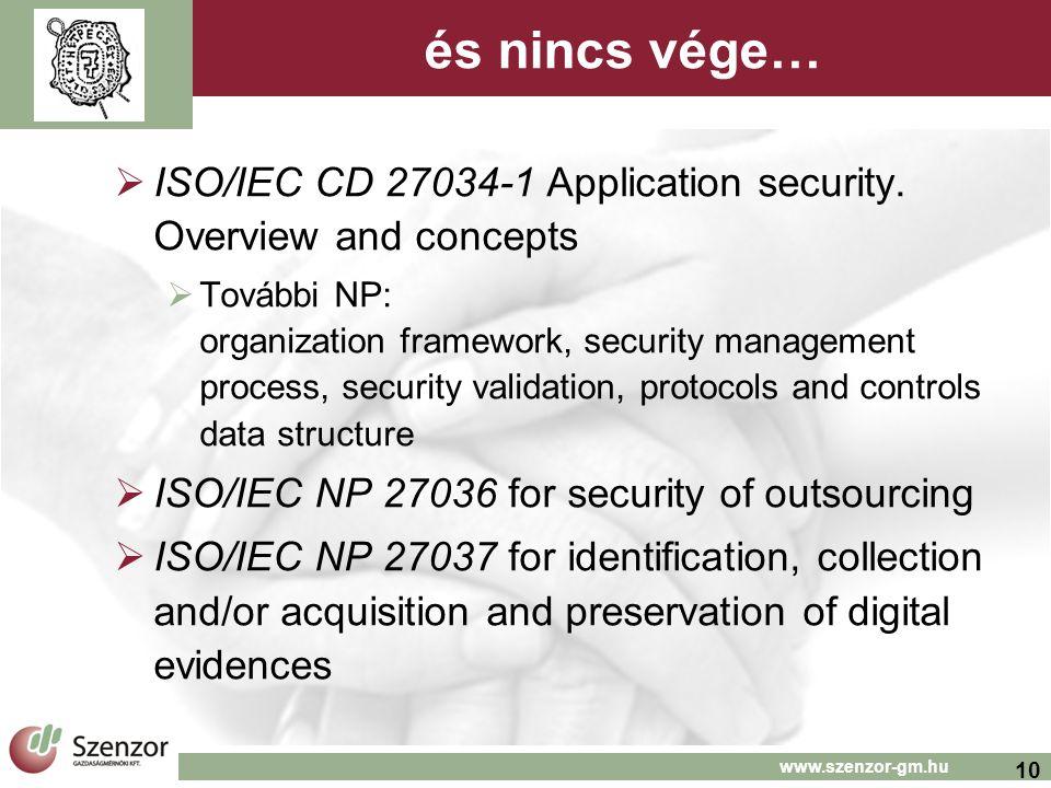 10 www.szenzor-gm.hu és nincs vége…  ISO/IEC CD 27034-1 Application security. Overview and concepts  További NP: organization framework, security ma