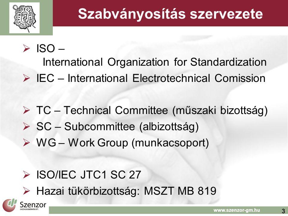 3 www.szenzor-gm.hu Szabványosítás szervezete  ISO – International Organization for Standardization  IEC – International Electrotechnical Comission