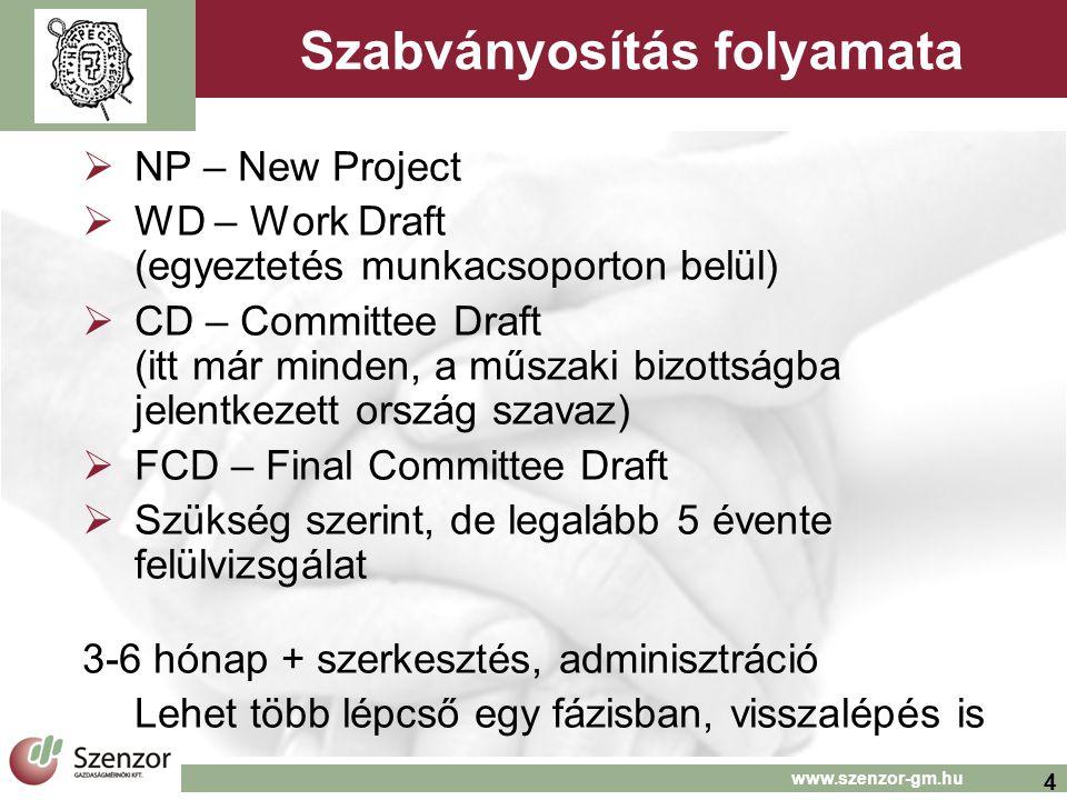 4 www.szenzor-gm.hu Szabványosítás folyamata  NP – New Project  WD – Work Draft (egyeztetés munkacsoporton belül)  CD – Committee Draft (itt már mi