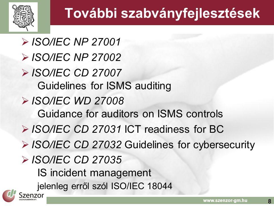 8 www.szenzor-gm.hu További szabványfejlesztések  ISO/IEC NP 27001  ISO/IEC NP 27002  ISO/IEC CD 27007 Guidelines for ISMS auditing  ISO/IEC WD 27