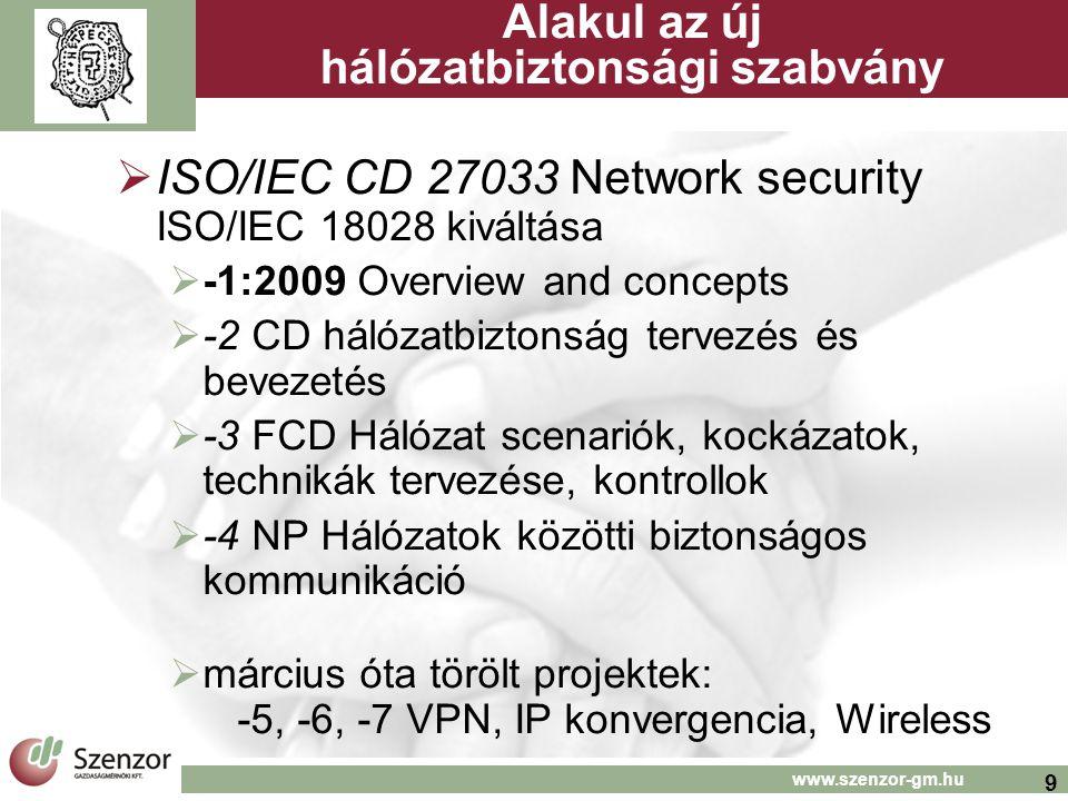 9 www.szenzor-gm.hu Alakul az új hálózatbiztonsági szabvány  ISO/IEC CD 27033 Network security ISO/IEC 18028 kiváltása  -1:2009 Overview and concept