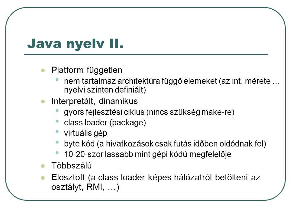Hogyan működik ? I. JVM Java API.java fájl javac osztaly.java osztaly.class java osztaly