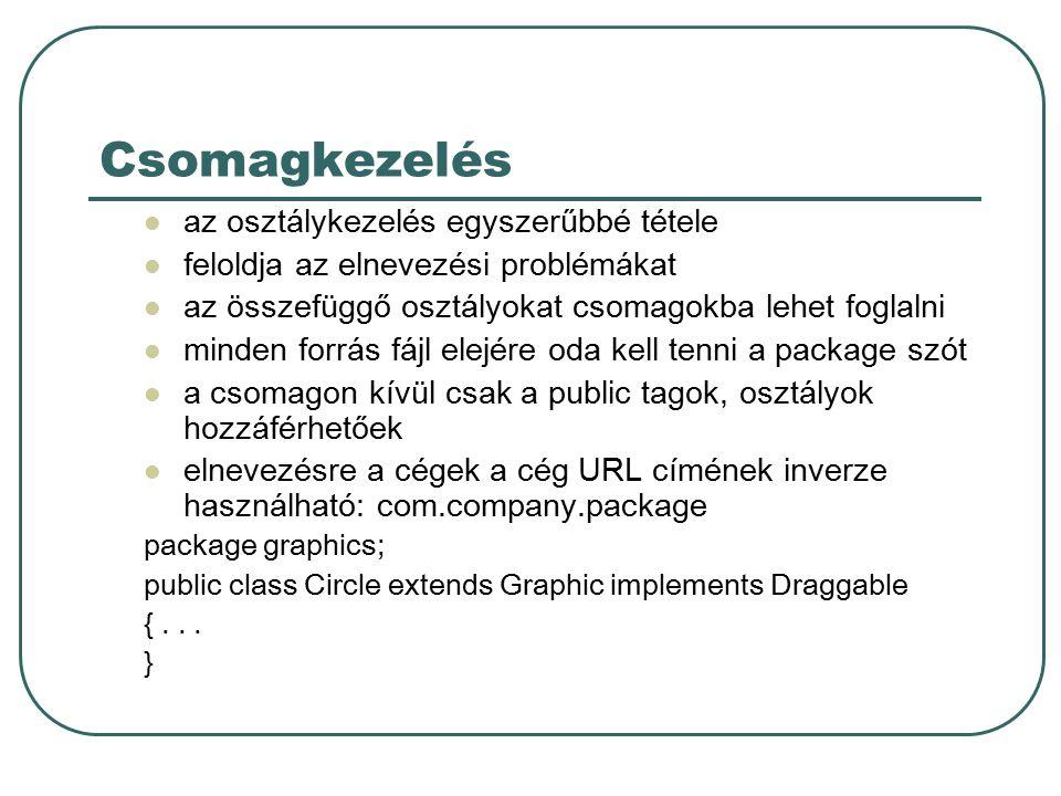 Csomagok használata Hivatkozhatunk a tagra a teljes névvel A csomag tagot importáljuk Az egész csomagot importáljuk graphics.Rectangle myRect = new graphics.Rectangle(); import graphics.Circle; import graphics.*;