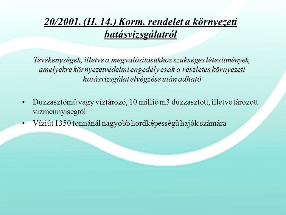 20/2001. (II. 14.) Korm. rendelet a környezeti hatásvizsgálatról Duzzasztómű vagy víztározó, 10 millió m3 duzzasztott, illetve tározott vízmennyiségtő