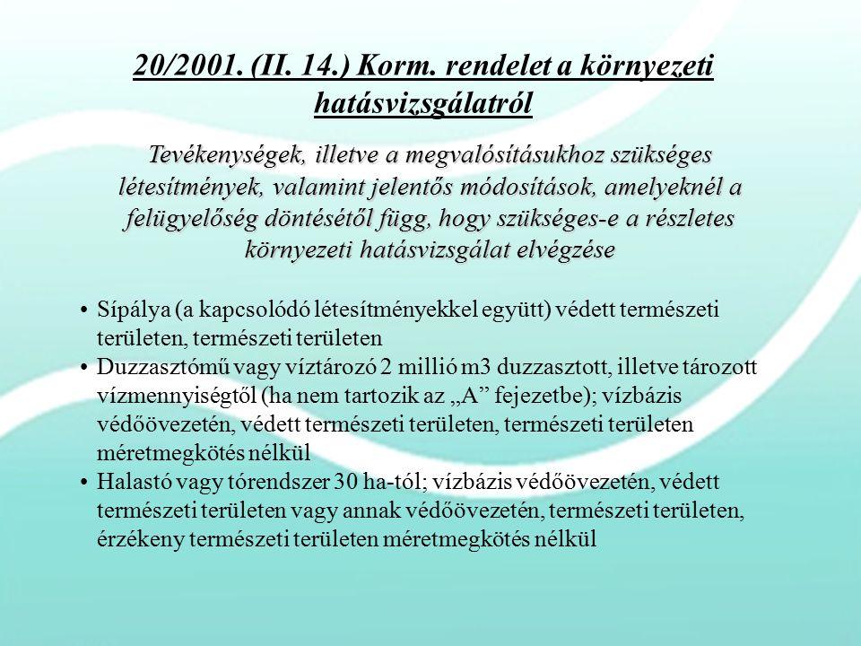 20/2001. (II. 14.) Korm. rendelet a környezeti hatásvizsgálatról Tevékenységek, illetve a megvalósításukhoz szükséges létesítmények, valamint jelentős
