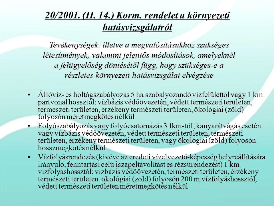 20/2001. (II. 14.) Korm. rendelet a környezeti hatásvizsgálatról Állóvíz- és holtágszabályozás 5 ha szabályozandó vízfelülettől vagy 1 km partvonal ho