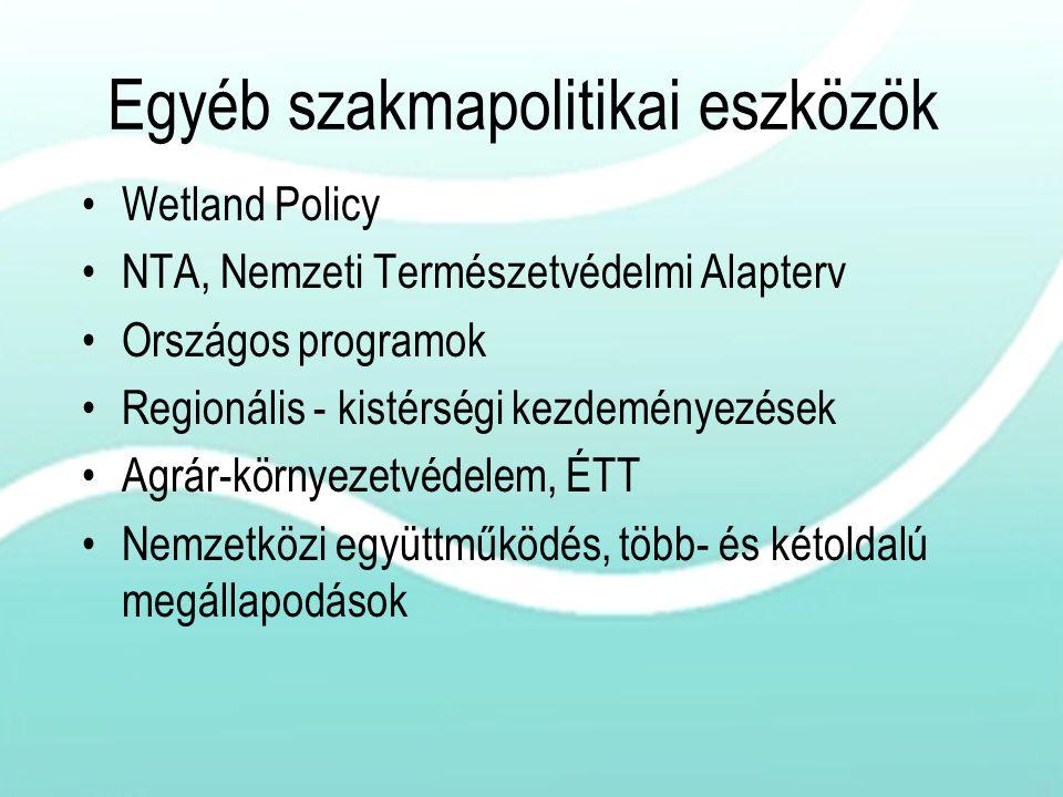 Egyéb szakmapolitikai eszközök Wetland Policy NTA, Nemzeti Természetvédelmi Alapterv Országos programok Regionális - kistérségi kezdeményezések Agrár-