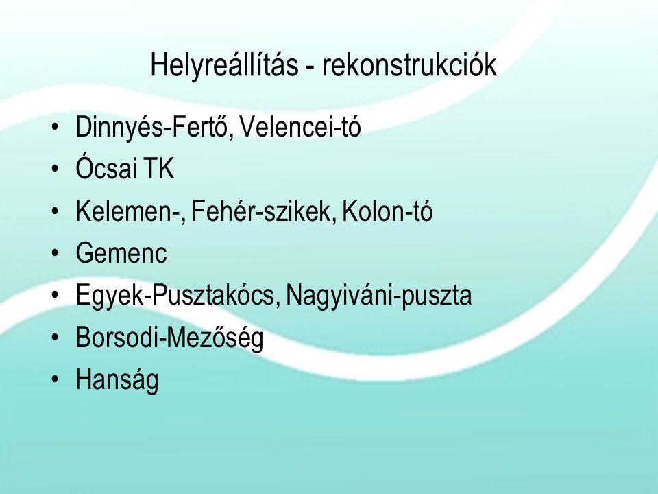 Helyreállítás - rekonstrukciók Dinnyés-Fertő, Velencei-tó Ócsai TK Kelemen-, Fehér-szikek, Kolon-tó Gemenc Egyek-Pusztakócs, Nagyiváni-puszta Borsodi-