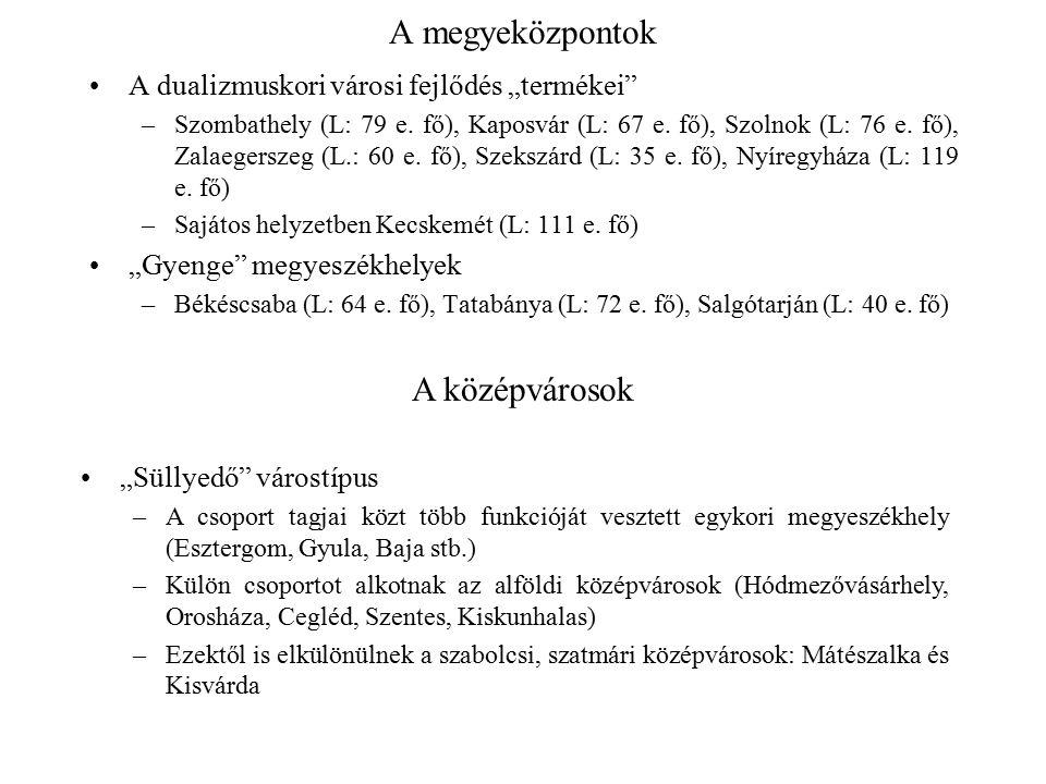 """A megyeközpontok A dualizmuskori városi fejlődés """"termékei"""" –Szombathely (L: 79 e. fő), Kaposvár (L: 67 e. fő), Szolnok (L: 76 e. fő), Zalaegerszeg (L"""