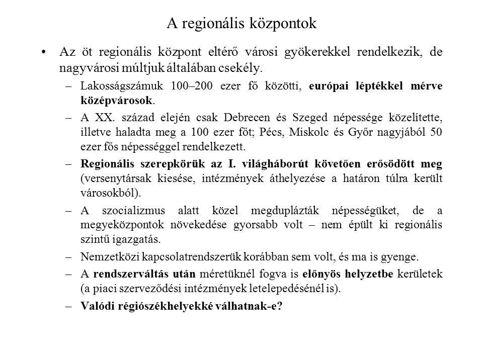 A regionális központok Az öt regionális központ eltérő városi gyökerekkel rendelkezik, de nagyvárosi múltjuk általában csekély. –Lakosságszámuk 100–20