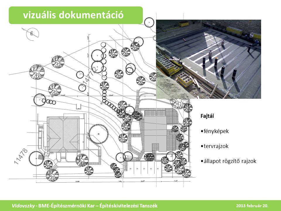 vizuális dokumentáció Vidovszky - BME-Építészmérnöki Kar – Építéskivitelezési Tanszék Fajtái fényképek tervrajzok állapot rögzítő rajzok 2013 február 20.