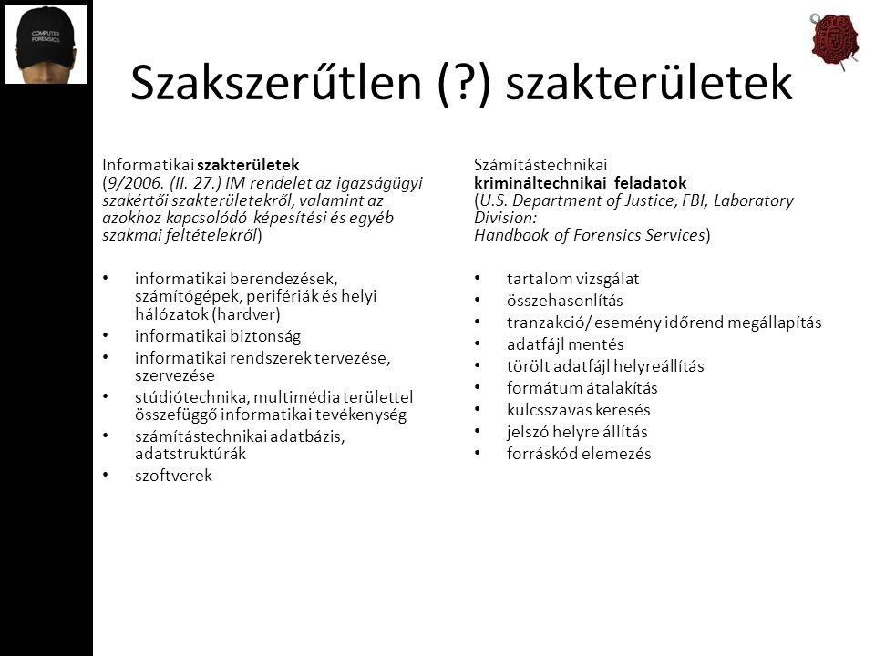 Szakszerűtlen (?) szakterületek Informatikai szakterületek (9/2006. (II. 27.) IM rendelet az igazságügyi szakértői szakterületekről, valamint az azokh