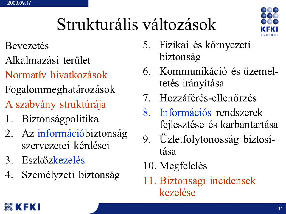 2003.09.17. 11 Strukturális változások Bevezetés Alkalmazási terület Normatív hivatkozások Fogalommeghatározások A szabvány struktúrája 1.Biztonságpol