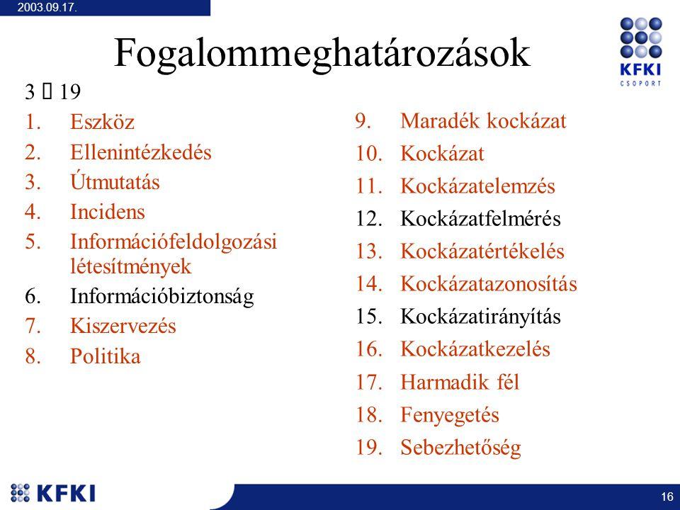 2003.09.17. 16 Fogalommeghatározások 3  19 1.Eszköz 2.Ellenintézkedés 3.Útmutatás 4.Incidens 5.Információfeldolgozási létesítmények 6.Információbizto