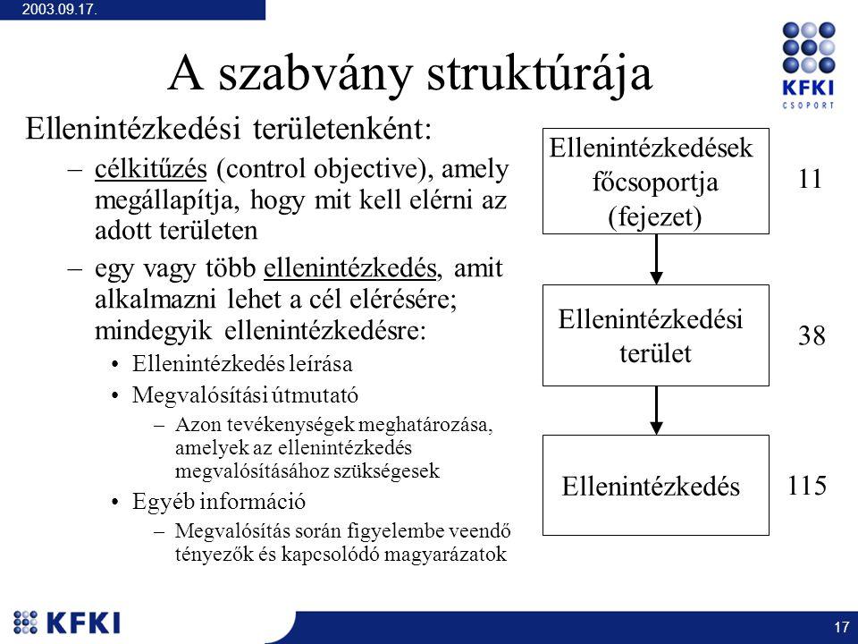 2003.09.17. 17 A szabvány struktúrája Ellenintézkedési területenként: –célkitűzés (control objective), amely megállapítja, hogy mit kell elérni az ado
