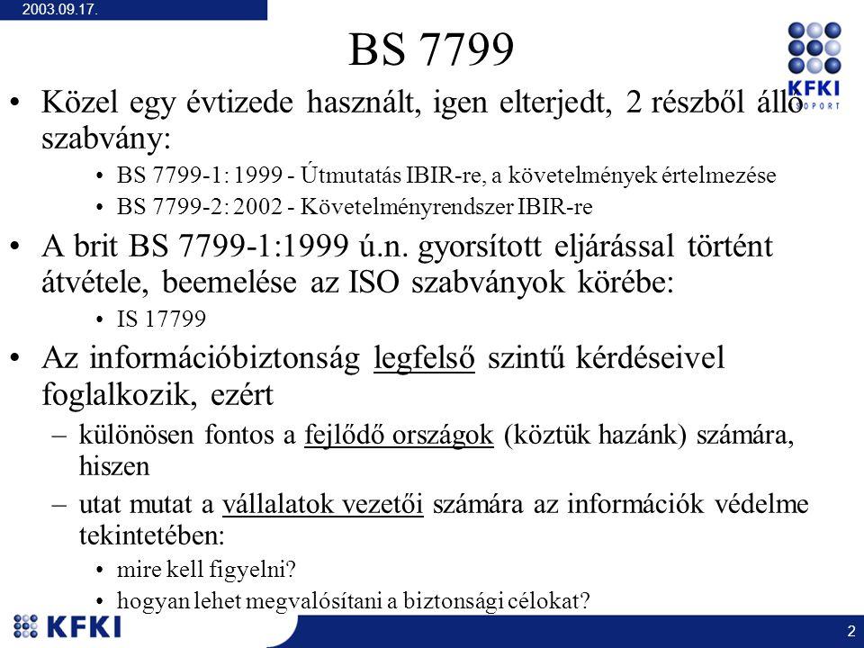 2003.09.17. 2 BS 7799 Közel egy évtizede használt, igen elterjedt, 2 részből álló szabvány: BS 7799-1: 1999 - Útmutatás IBIR-re, a követelmények értel
