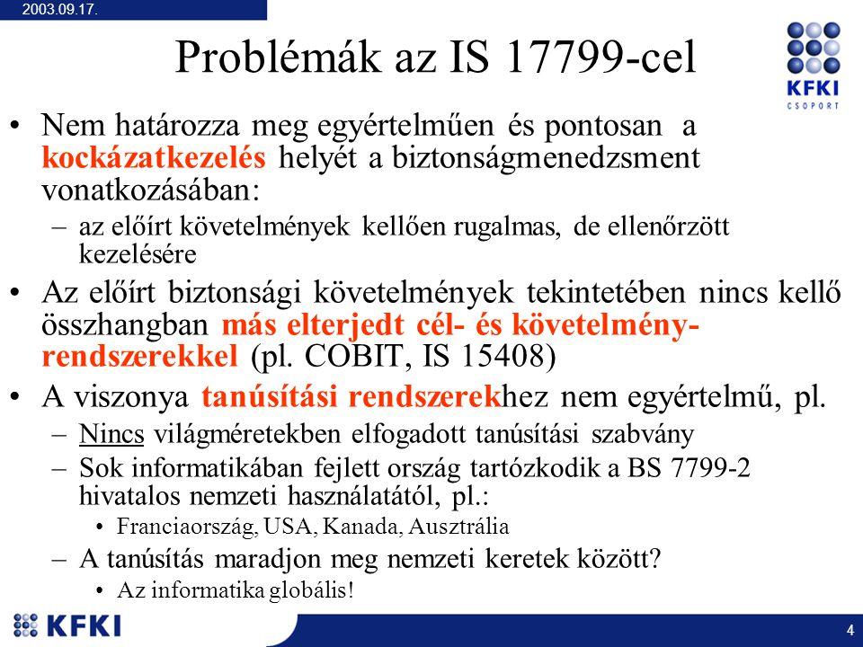 2003.09.17. 4 Problémák az IS 17799-cel Nem határozza meg egyértelműen és pontosan a kockázatkezelés helyét a biztonságmenedzsment vonatkozásában: –az