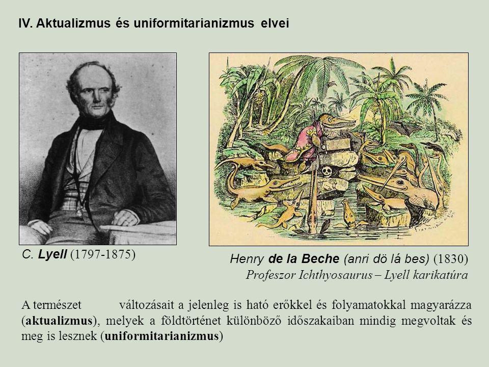 IV. Aktualizmus és uniformitarianizmus elvei A természet változásait a jelenleg is ható erőkkel és folyamatokkal magyarázza (aktualizmus), melyek a fö