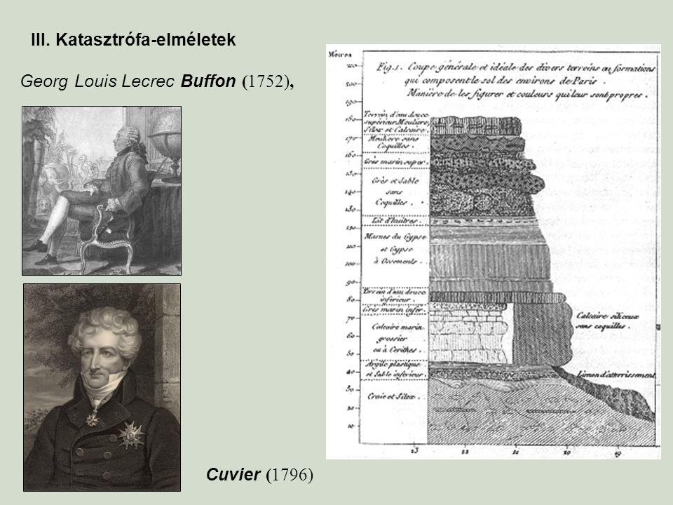 III. Katasztrófa-elméletek Cuvier (1796) Georg Louis Lecrec Buffon (1752),