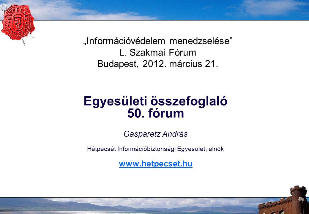 """2 HÉTPECSÉT INFORMÁCIÓBIZTONSÁGI EGYESÜLET –2001-től óta """"Értékteremtő munkacsoport MagiCom + Szenzor + magánszemélyek BS7799 szabvány fordítás oktatási tematikák készítése –2004-ben 12 magánszemély megalakítja a Hétpecsét Információbiztonsági Egyesületet –Céljaink: az információs társadalom biztonságának támogatása az információvédelem kultúrájának és ismereteinek terjesztése, a tudatosság kialakítása információvédelmi szakmai műhely létrehozása"""