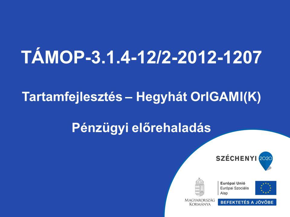 TÁMOP-3.1.4-12/2-2012-1207 Tartamfejlesztés – Hegyhát OrIGAMI(K) Pénzügyi előrehaladás